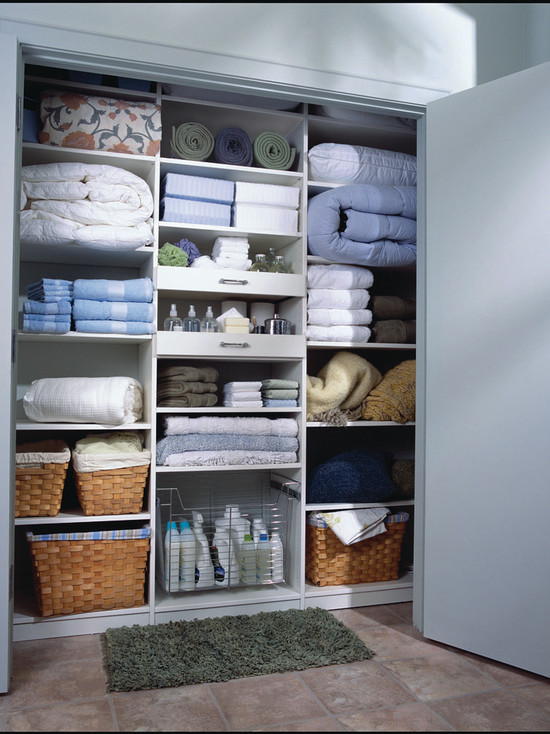 Functional Kitchen With Slide Out Wire Baskets : Traditional Closet Wicker Baskets Organize And Store Towels Sheets And Quilts