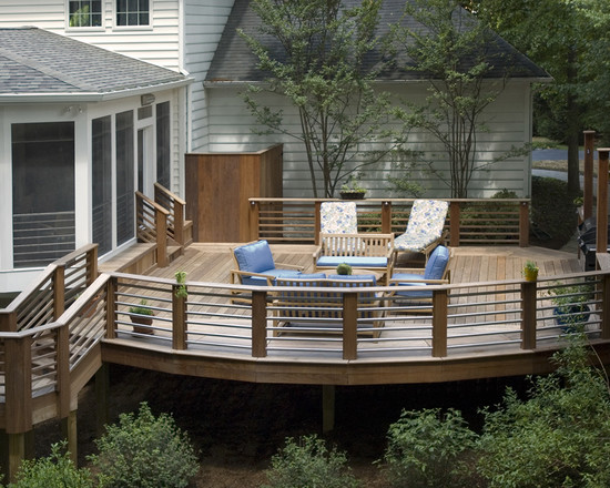 Exciting Custom Porch Railings Designs: Traditional Deck Screened Porch Featuring Ipe Decking With Stainless Steel Pipe Rails