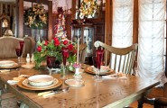 Various Pictures of Dining Room Table Centerpieces Ideas : Traditional Dining Room Beautiful Elegant Wood Dining Table Painted With Leaves And Berries