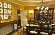 Using A Variety Of Buffet Table : Traditional Dining Room Coloured Side Table And Hallway Table Chandelier Traditional Carpet And Yellow Ambiance