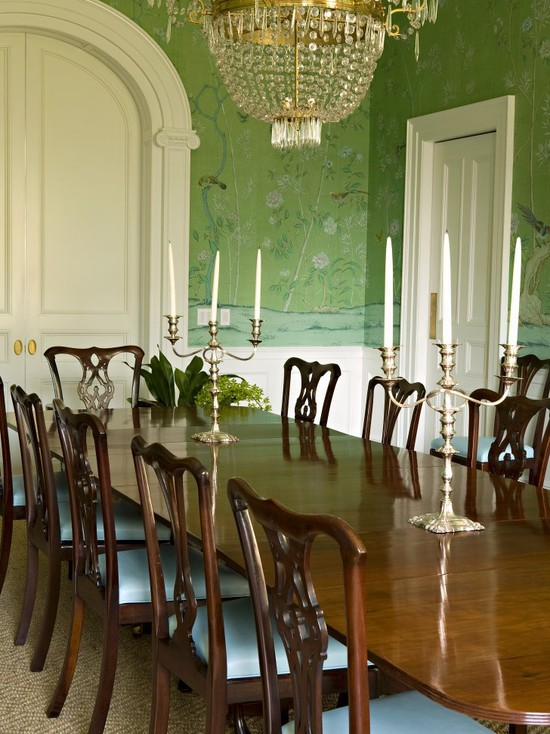 Beautiful Chinoserie Wallpaper To Make Room In Your Home Look More Classy: Traditional Dining Room Mint Green Chinoiserie Story Wallpaper Sets A Formal Yet Soft Tone With Crystal Chandelier And Crown Molding