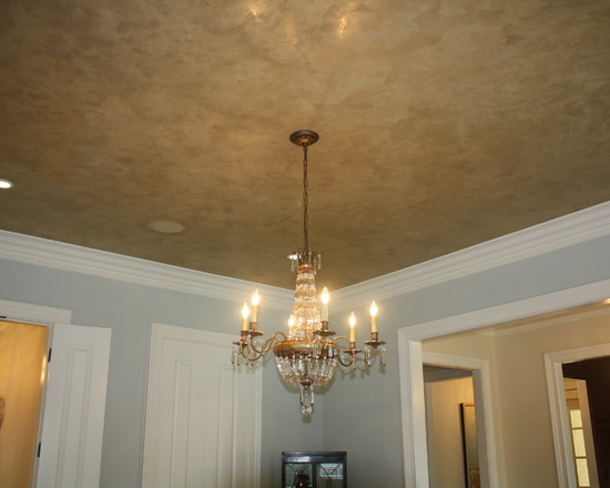 How To Plaster Ceilings Of Your Home: Traditional Dining Room Waxed Venetian Plaster Finish On Ceiling Faux Finish