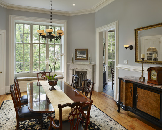 Extraordinary Gray Painted Furniture : Traditional Dining Room With Benjamin Moore Harbor Gray Painted Furniture