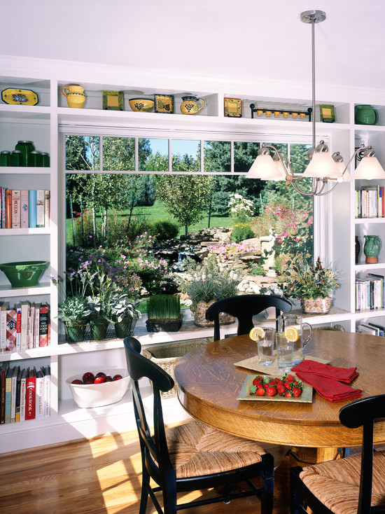 Interesting Kitchen Window Herb Garden: Traditional Dining Room With Custom Bookcases Frame The Picture Window And Storage With Garden Window At Kitchen End