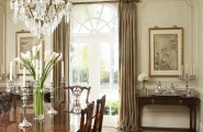 Marvelous Dining Tables Set And Chairs : Traditional Elegant Dining Room With Chandelier And Curtain Rods With Pineapple Finials Plus Antique Inspired Dining Tables