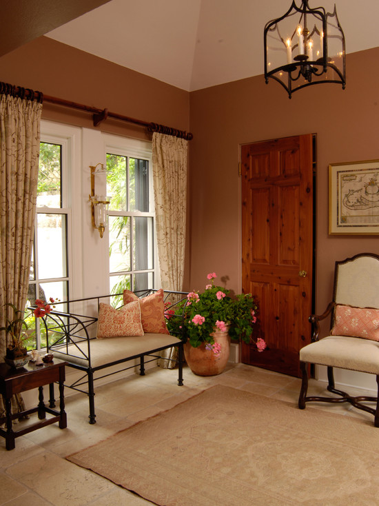 Use Terracotta Color for Astounding Ambiance: Traditional Entry Nice Tiles Terracotta Paint Color Rug And Chandelier