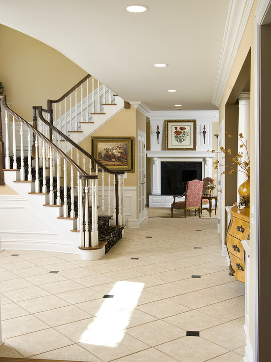Floor Tiles Stairs Design Ideas: Traditional Entry White Ambiance Floor Tiles Stairs With White Railing