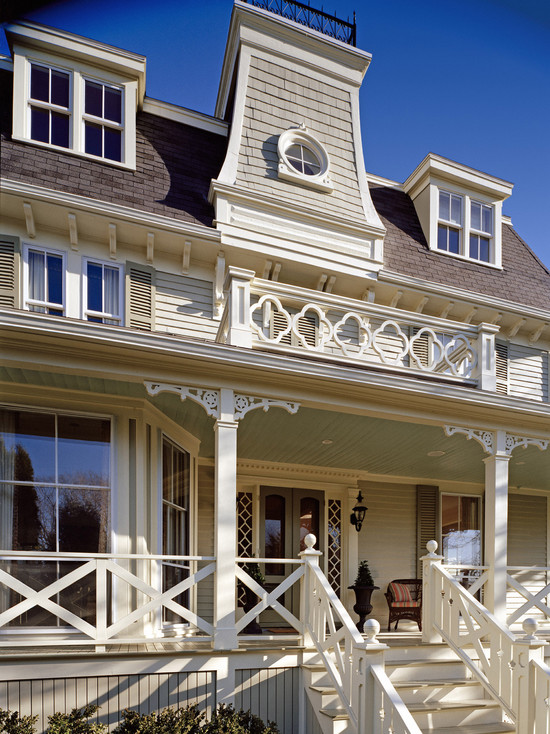 Exciting Custom Porch Railings Designs : Traditional Exterior Custom Upper Railing Finishing Molding On Porch Floor Quatrefoil Railings Diagonal Cross Railings And Ornamental Porch