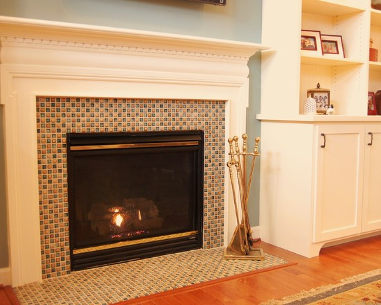 Awesome Glass Mosaic Fireplace Surround: Traditional Family Room Mosaic Tile And Had The Black Granite Surround Faced Fireplace