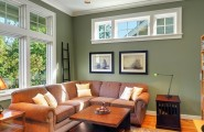 Apply The Color Sage Green For Your Home Design : Traditional Family Room Paint Color Dry Sage Accent Wall L Shape Sofan And Cushion Wood Table And Carpet