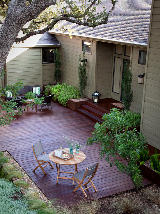 Interesting Photos of Wood Decks: Traditional Ground Level Deck Design With Steps From House Stain Decks And Fencing