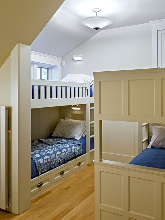 Design Your Own Bunk Bed: Traditional Guest Room Double Bunks Bed Storage Under Bunk Bed Slant Ceiling And Woodwork Unfussy Traditional