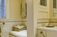 Custom and Built-in Medicine Cabinet : Traditional Guset Bathroom Mirrored Door For Medicine Cabinet Built In Seat Bench Square Tile Above The Pencil Below The Moulding