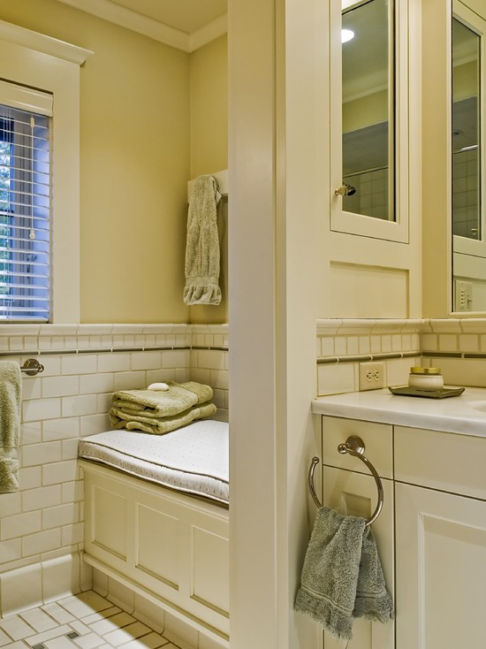 Custom and Built-in Medicine Cabinet: Traditional Guset Bathroom Mirrored Door For Medicine Cabinet Built In Seat Bench Square Tile Above The Pencil Below The Moulding