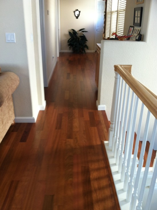 Beautiful Brazilian Cherry Stairs: Traditional Hall With Prefinished Brazilian Cherry And Star Nosing
