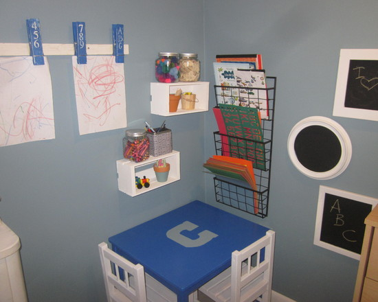 Exciting Kids Craft Table With Storage: Traditional Kids Corner Kids Craft Table With Crayons And Storage On The Shelves And Mounted To Wall Plus The Giant Pegs To Display Art ~ stevenwardhair.com Kids Room Inspiration