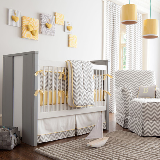 Interesting Unisex Baby Room Themes : Traditional Kids Gray And Yellow Chevron Crib Bedding Wall Art Idea Adorable Unisex Nursery
