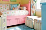 Beautiful Turquoise Girls Room : Traditional Kids Pastel Color Girl Room Pink Bed Turquoise Dresser