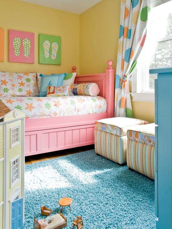 Beautiful Turquoise Girls Room: Traditional Kids Pastel Color Girl Room Pink Bed Turquoise Dresser