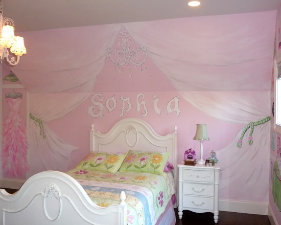 Amazing Kids Rooms Decorating Ideas For Girls: Traditional Kids Princess Room Name Mural Over Bed Fun Girls Room Decoration Idea