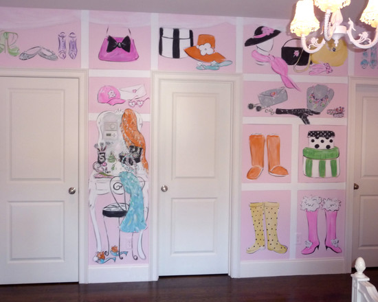 Amazing Kids Rooms Decorating Ideas For Girls : Traditional Kids Un Girls Room Decoration Idea With Fascinating Girls Room Mural Walk In Closet