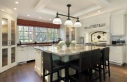 Various Hanging Shelves : Traditional Kitchen Cabinet Doors Island Dining Table Marble Countertop