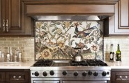 Some Glass Tile Kitchen Backsplash Pictures : Traditional Kitchen Detail Of Custom Mosaic Tile Customized Design Of A Natural Object Bird Or Plant