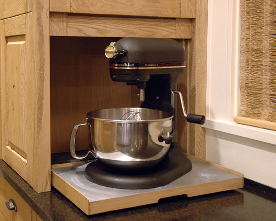 Kitchen Aid Cabinets With Popup Mixer Shelf: Traditional Kitchen Hardware For Pulling Down A Mixer From Above At Kitchen Aid Cabinets