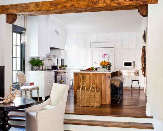 Excellent Faux Wood Ceiling Beams And Planks : Traditional Kitchen With Attractive Matchup Of Tone On Wood In Beam Wood In Floor And On Island Against The White Walls And Cabinetry