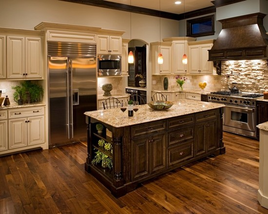 Contemporary Burnished Walnut Stain : Traditional Kitchen With Gunstock Stain On The Island And The Vent Hood And Around The Stove And The Flooring Is American Walnut In Varying Sizes