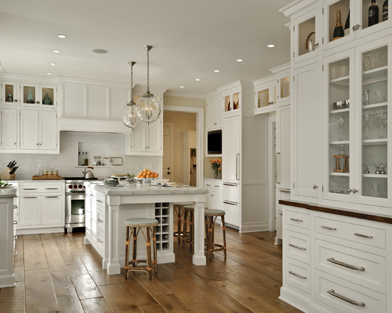 Contemporary and Traditional Kitchen With Sub Zero 36 Inch Refrigerator: Traditional Kitchen With Ide Plank Hardwood Floors White Isladn Marble Countertops Cabinets With Glass Door Wooden Floor And Sub Zero 36 Inch Refrigerator