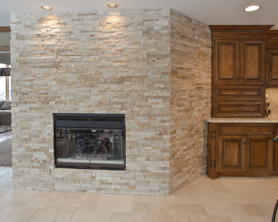 All Kinds of Prefab Fireplace Design Ideas: Traditional Kitchen With Prefab Fireplace Direct Vent And Dry Stack Tile