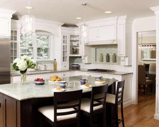 Apply The Color Sage Green For Your Home Design: Traditional Kitchen With The Green Backsplash Tiles And Subtle Green Countertops And Hood Makes Way For A Cabinet