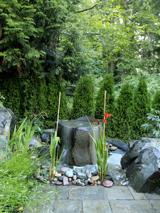 Creative Excellent Pondless Water Fountains: Traditional Landscape Peacefulness And Tranquility Large Stone Pondless Water Fountain In Front Trees Basalt Column Bubbler