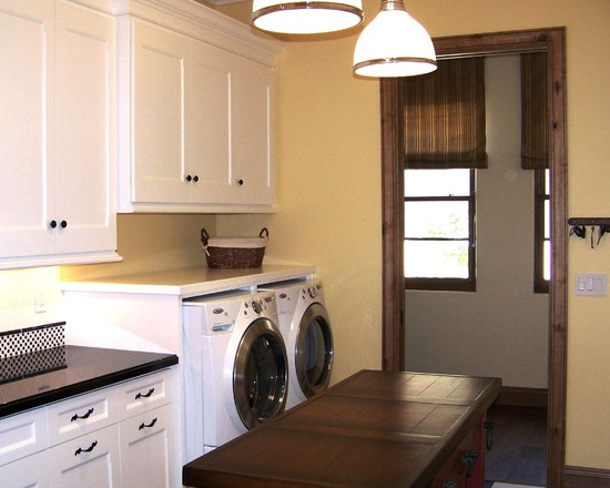 Interesting Floor Noise Reduction: Traditional Laundry Room With Checker Floors And White Cabinets