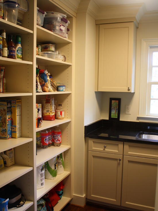Awesome Pantry Shelves Designs: Traditional Laundry Room With Pantry Shelves Designs And Black Glossy Countertop