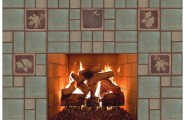 Contemporary House With Arts And Crafts Fireplace Mantels : Traditional Living Room Arts And Crafts Fireplace Idea With Chocolate 6 Inches Accent Tile