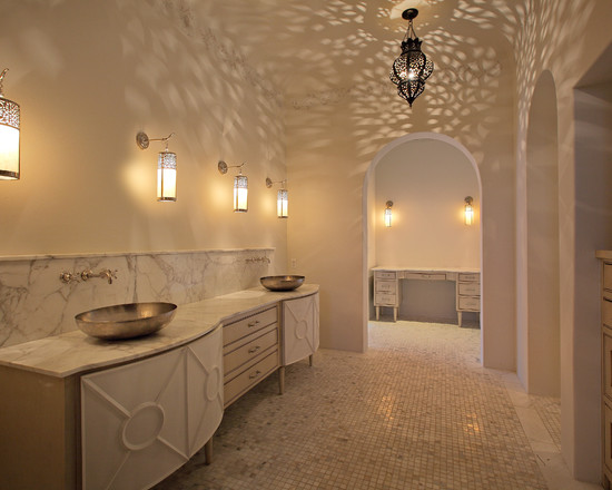 Amazing Moroccan Lanterns and Lamps : Traditional Master Bathroom Contemporary Spin On Moroccan Double Sink And Tranquil White With Moroccan Lantern Give Detail Without Bright Colors