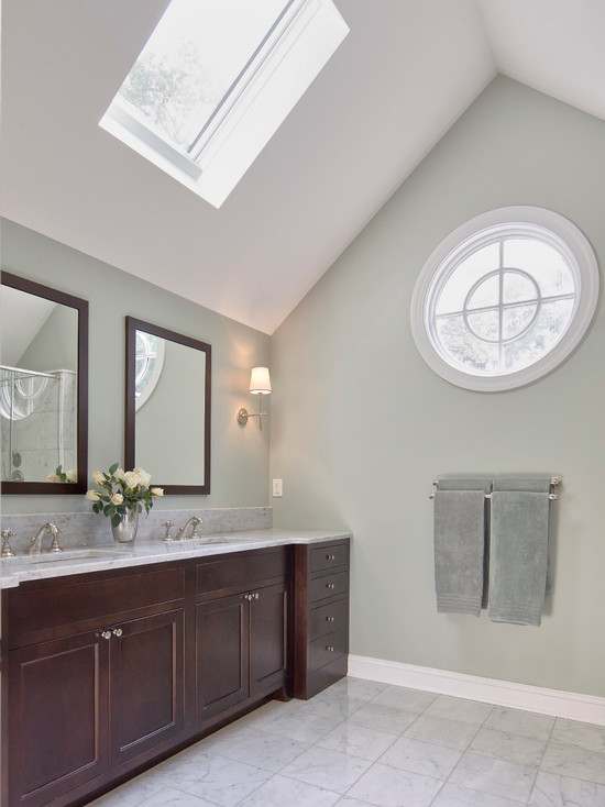 Apply Awesome Skylights For Your Bathrooms : Traditional Master Bathroom Has Undermount Sinks Marble Counters And Floor Cherry Vanity Electric Operated Skylight For Ventilation Decorative Round Window