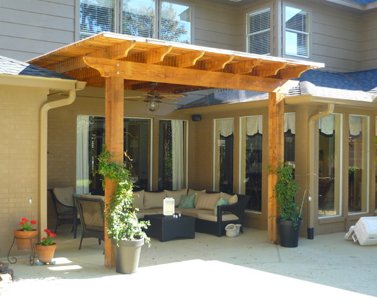 Terrific Pergola Roof Covering Designs: Traditional Patio Covered Pergola And Not Attached To Roof Fully Shaded Areas