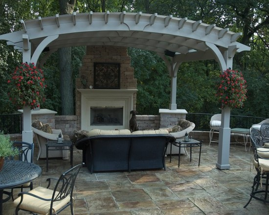 Terrific Pergola Roof Covering Designs: Traditional Patio Custom Pergola Covers The Space Custom Outdoor Kitchen Featuring A Gas Grill Refrigerator Beverage Cooler Under Mount Lighting And Cable TV