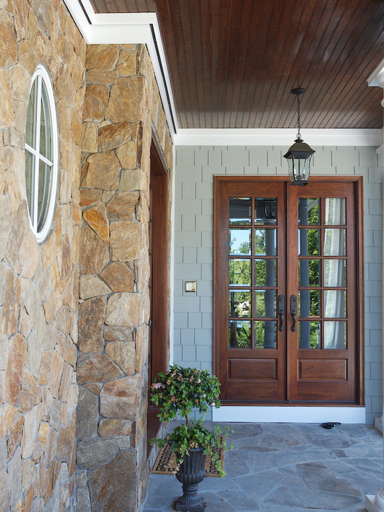 Extraordinary Double Entry Doors For Home: Traditional Patio Nice Wood Stained French Doors Double Doors And Ceiling Stain