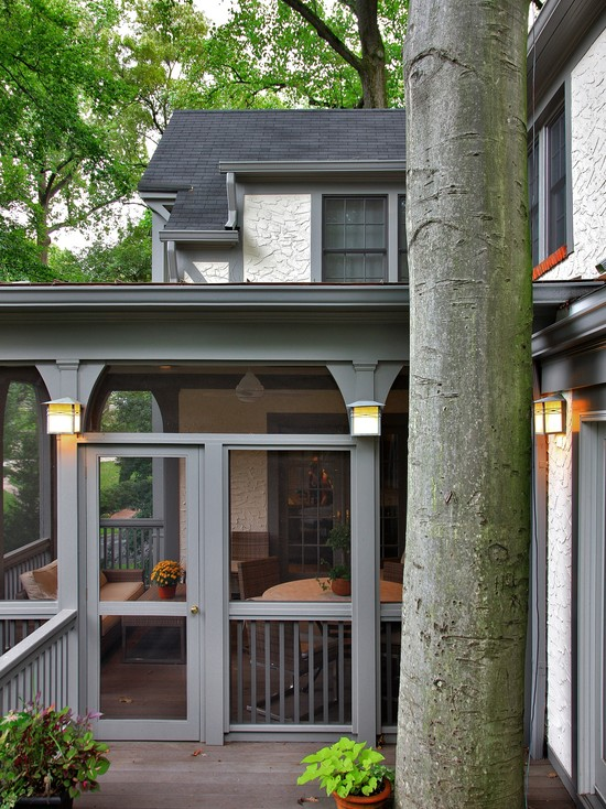 Wonderful Pictures Of Screened In Decks: Traditional Porch L Shape And A Screen In Porch On Tudor And Deck Above With Railing In Screen And Columns With Lights  ~ stevenwardhair.com Chairs Inspiration