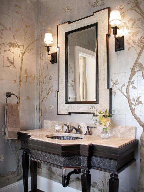 Beautiful Chinoserie Wallpaper To Make Room In Your Home Look More Classy: Traditional Powder Room Gorgeous Chinoiserie Work On The Walls Neutral Palette Lends To A Formal Yet Organic Space