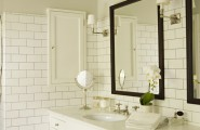 Custom and Built-in Medicine Cabinet : Traditional Sophisticated Bathroom With Medicine Cabinet Recessed Into The Wall At The Side Of The Counter White Brik Tiles