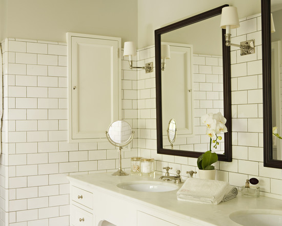 Custom and Built-in Medicine Cabinet: Traditional Sophisticated Bathroom With Medicine Cabinet Recessed Into The Wall At The Side Of The Counter White Brik Tiles