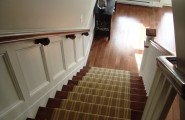 Excellent Striped-Stair-Runner For Staircase : Traditional Staircase With Striped Carpet Stair Runner In Neutral Palette And Added Wainscoting Down The Stairs