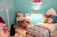 Beautiful Turquoise Girls Room : Traditional Tiffany Blue Turquoise Girls Bedroom With Bedding Pink Room Tree Mural