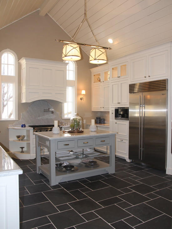 Extraordinary Tile Floor Designs For Kitchens: Traditional White Kitchen Tile Slate Countless Pattern Ashlar Floor Pattern Montauk Black