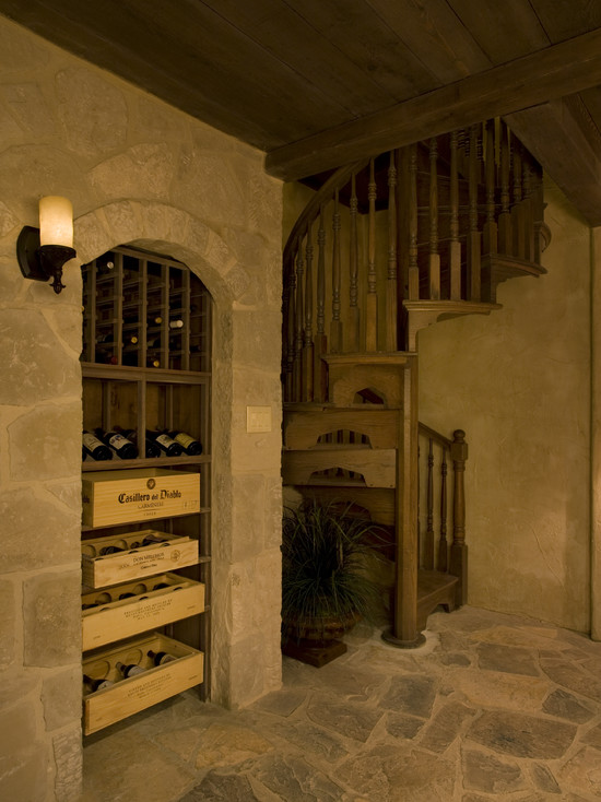 Awesome Wine Cellar Spiral Staircase: Traditional Wine Cellar Spiral Staircase Anchored At The Top